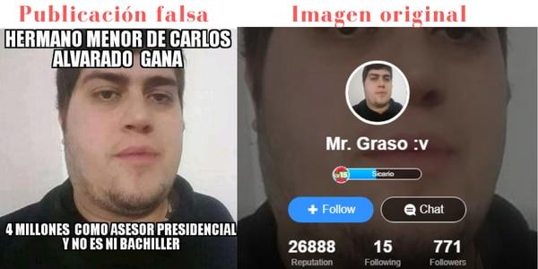 A la izquierda, publicación falsa sobre el hermano del presidente. A la derecha, la imagen original del youtuber mexicano.