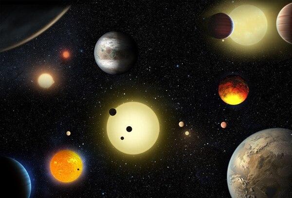 En esta ilustración recrea en posible panorama de miles ciento de exoplanetas registrados por el telescopio espacial Kepler.