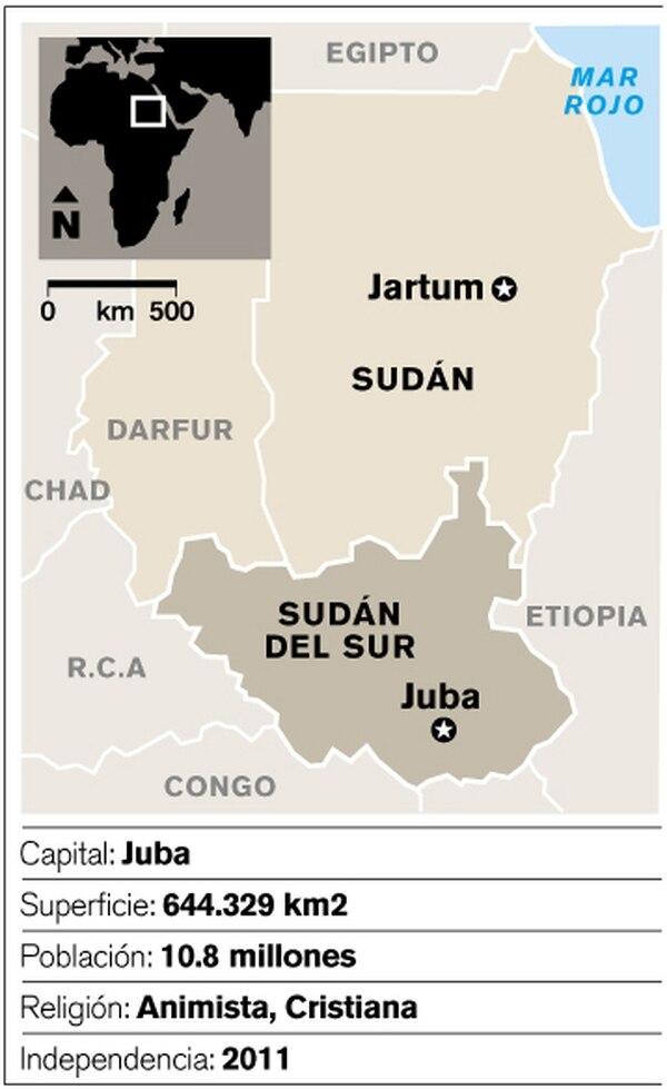 Mapa de ubicación de Sudán del Sur.