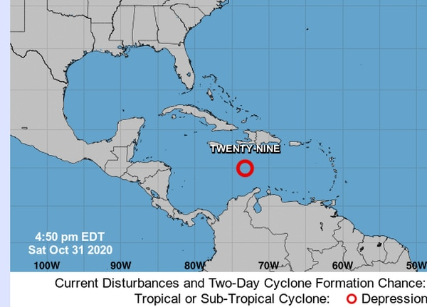 Poco después de las 2 p. m. de este 31 de octubre se confirmó la formación del ciclón número 29 de la temporada. Imagen: Centro Nacional de Huracanes.