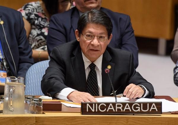 El canciller nicaragüense, Denis Moncada, intervino este miércoles 5 de setiembre del 2018 en la sesión del Consejo de Seguridad de la ONU.