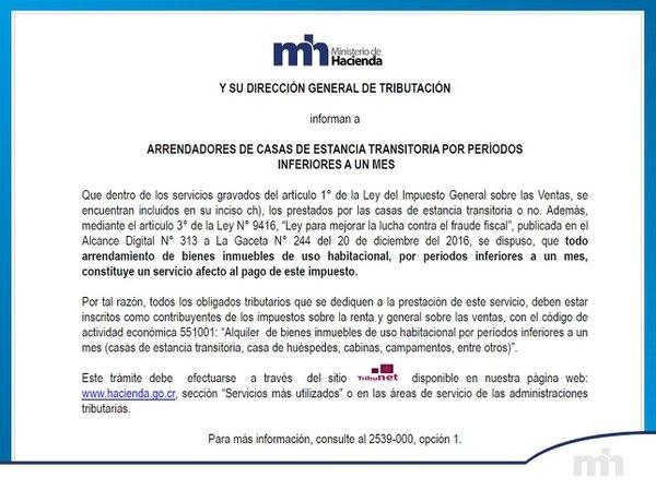 Este es el anuncio que emitió Hacienda el pasado 3 de enero sobre el ajuste en la recaudación de impuestos.