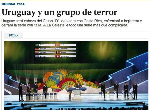 El diario El País de Uruguay destacó que su selección no tocó con suerte.