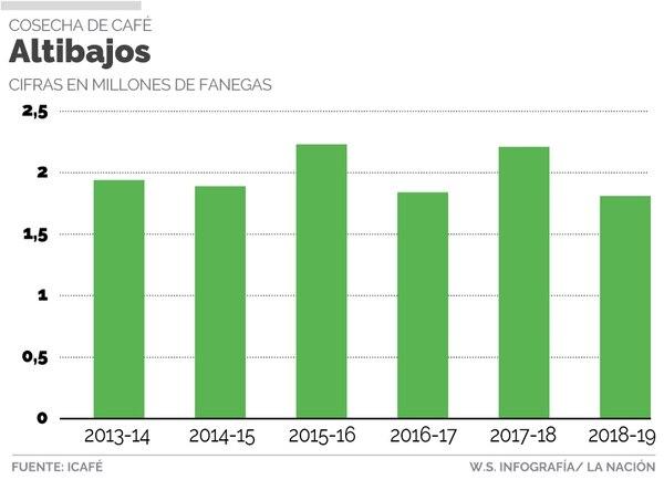 La producción costarricense de café bajará un 11% en el periodo 2018-2019, frente al periodo precedente.