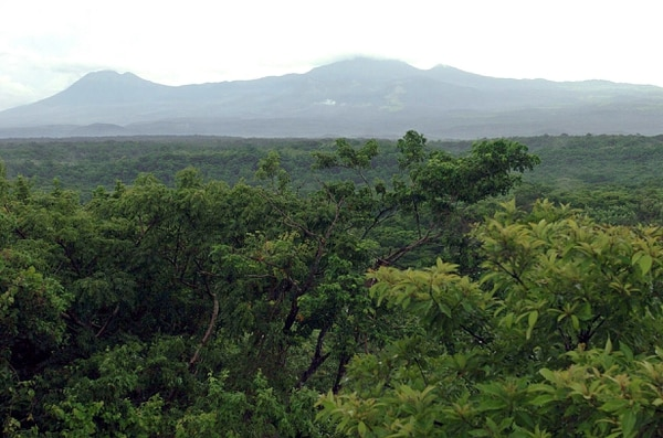 Panorámica desde el mirador ubicado en la Casona. Desde allí se puede observar el tipo de vegetación y al fondo se ve el cerro Orosí así como los volcanes Cacao y Rincón de la Vieja.