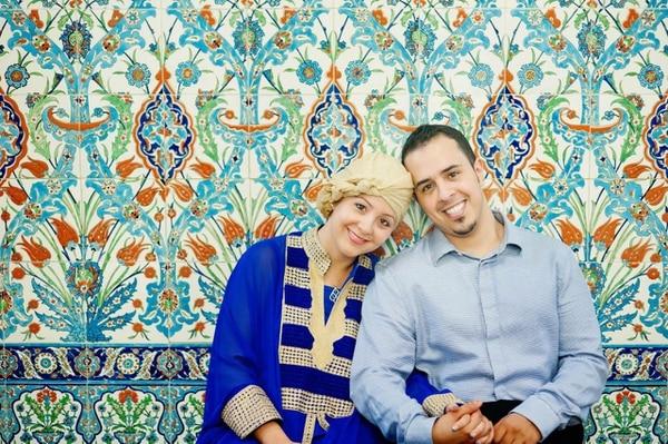 La costarricense Milena Chen-Apuy Murillo y su esposo Fawaz A. Alotaiby, de Arabia Saudí, el día que se casaron en una mezquita.