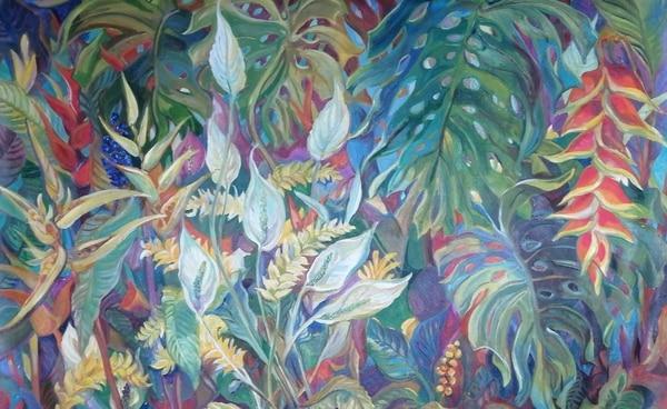 'Paraíso tropical', así se llama esta pintura de la costarricense Cristina Fournier Beeche. La artista, siempre se inspiró en la naturaleza para crear. Cortesía de Tania Christensen