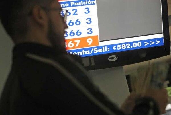 El miércoles 17 de mayo el Banco de Costa Rica tenía el tipo de cambio de ventanilla de venta en ¢582. Con la nueva metodología el Banco Central ya no tomará en cuenta los tipos de cambio anunciados, sino los aplicados en las transacciones.