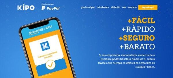 El sitio web de Kipo se adapta a los dispositivos del usuario para que realice las transferencias. (Reproducción EF)