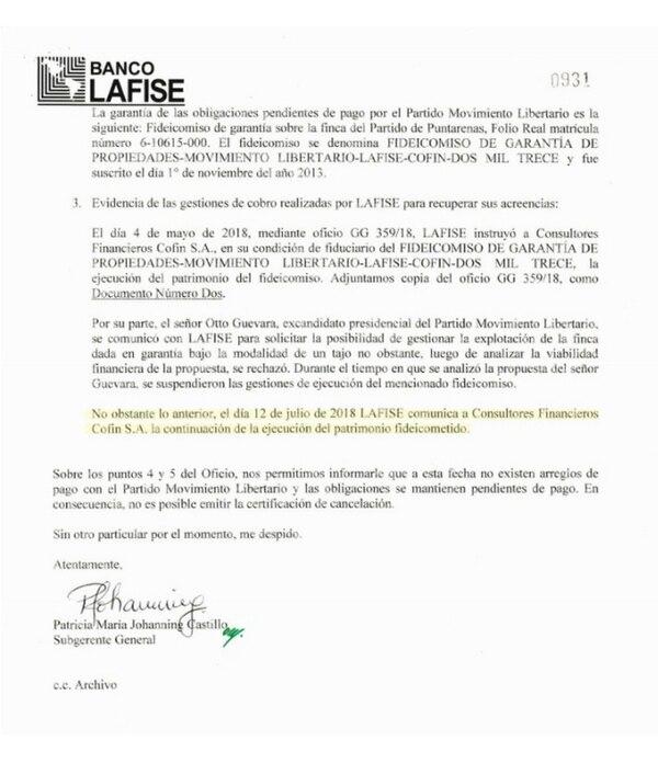 Banco Lafise, Otto Guevara