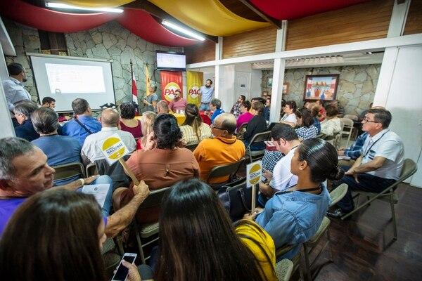 Asamblea Nacional 2019 del Partido Acción Ciudadana (PAC) en su sede central, en Montes de Oca, de cara a las elecciones municipales. Foto: José Cordero