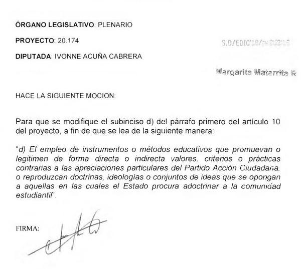 Moción Ivonne Acuña contra proyecto de ley de crímenes de odio.