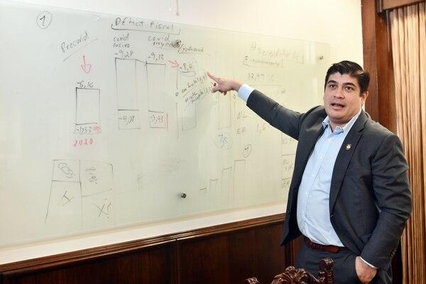 El gobierno de Carlos Alvarado presentó un proyecto de ley para recortar el gasto salarial durante los próximos 12 meses, a raíz de la disminución de ingresos tributarios provocada por la pandemia de covid-19. Foto: Jorge Castillo.
