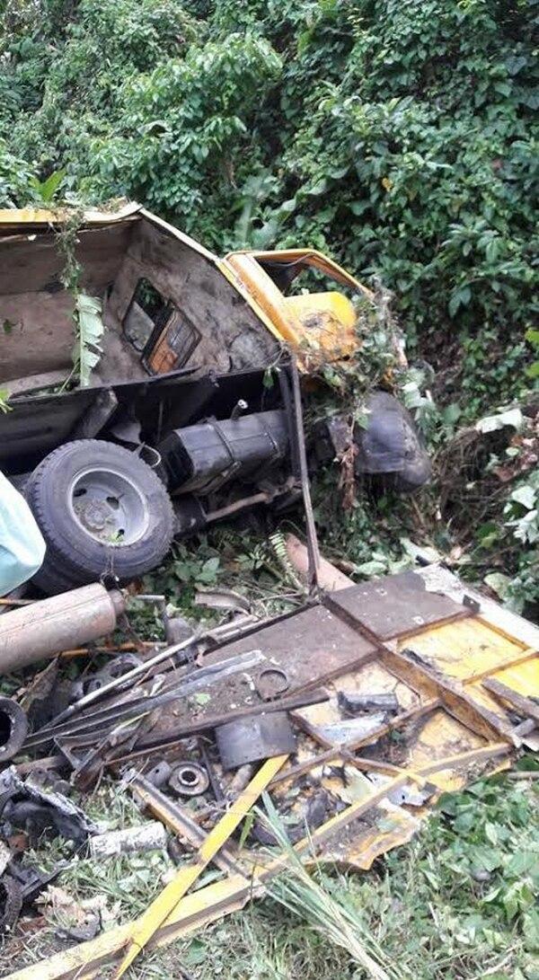 El camión Isuzu fue a dar a un pequeño guindo situado a un lado de la vía.