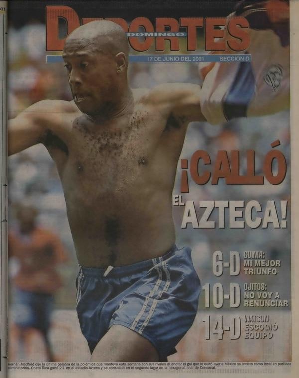 Portada de la sección de deportes del 17 de junio de 2001.