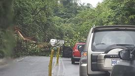 Policía abre paso en carretera a Limón luego de cierre por derrumbe