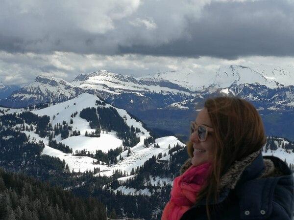 Dayana Mora en los Alpes, en Suiza.
