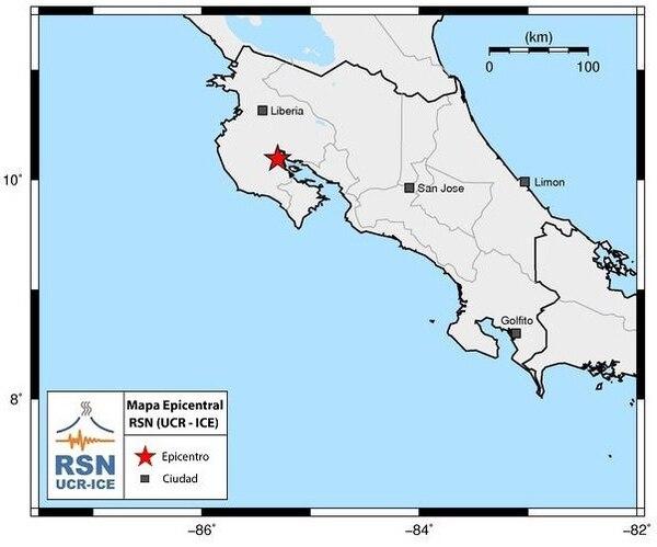El sismo de 5,2 de magnitud de este domingo tuvo epicentro en Nicoya.