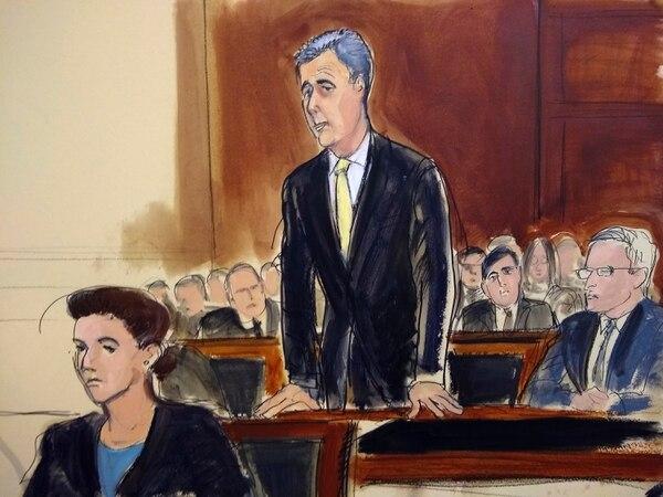 Ilustración del juicio de Michael Cohen en el tribunal federal de Nueva York. Foto: AP