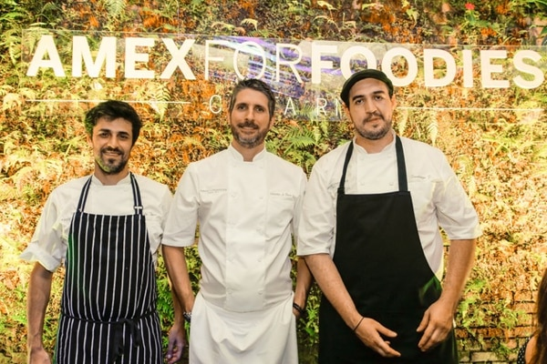 Los chefs anfitriones de la primera velada del Amex for Foodies fueron Guido Tassi, Sebastian La Rocca y Santiago Fernández Benedetto. Foto: American Express para LN.