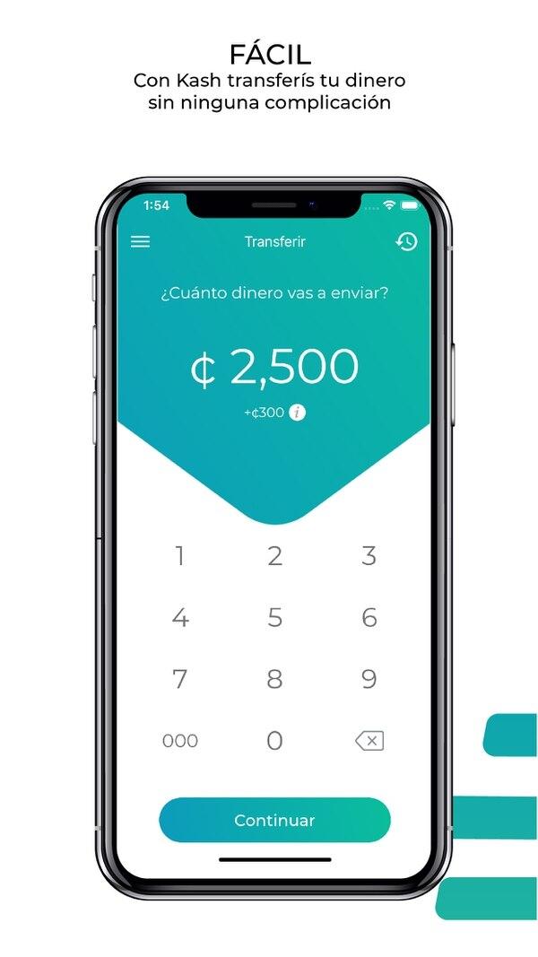 Realizar transferencias con esta aplicación es sencillo, solo se digita el monto que se desea transferir y se le hace llegar a otro usuario de la aplicación. Foto: Kash para LN.