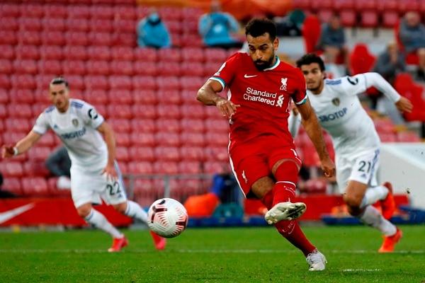 Salah marcó triplete en el debut del Liverpool en la Premier League. Fotografía: AFP.