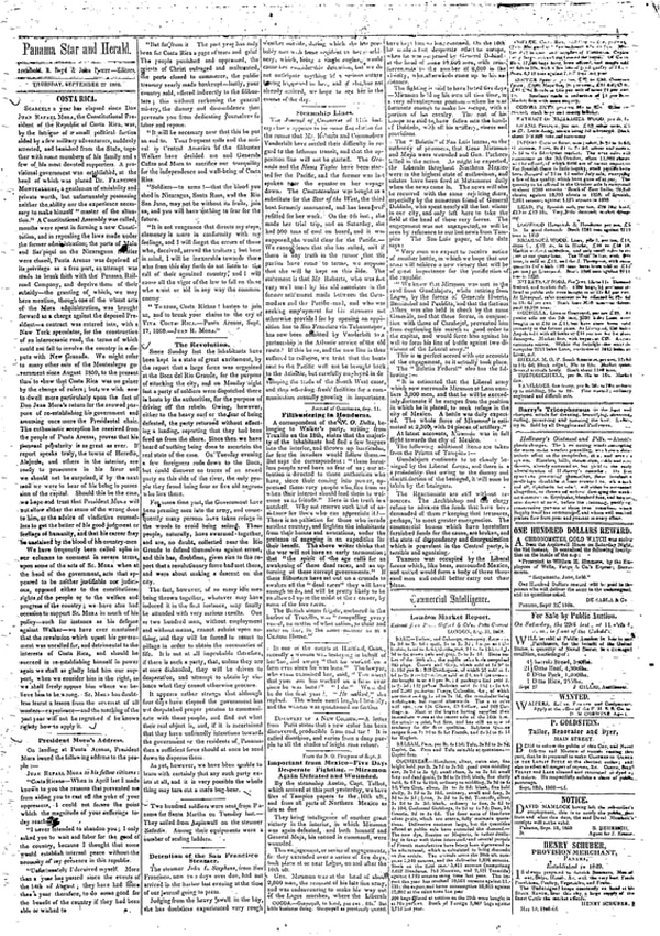 Extractos del diario Panama Star & Herald, del jueves 7 de septiembre de 1860. A la izquierda aparece el encabezamiento de la página; en el centro, el inicio del discurso; a la derecha, el final.