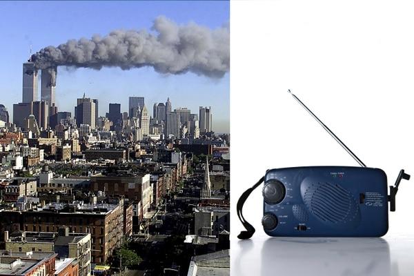 Izquierda: El humo que salía de las torres tras el impacto de los aviones podía verse desde la Estación Espacial Internacional. Derecha: Radio de baterías que un transeúnte compró en medio del caos para poder escuchar las noticias sobre la tragedia.