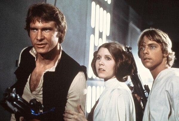 Estelares. Han Solo, Leia Organa y Luke Skywalker, de la trilogía original. AP