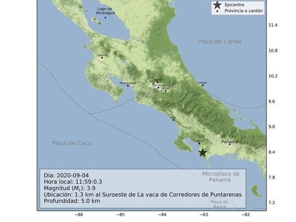Esta es la gráfica de una de las réplicas del sismo del 24 de agosto del 2020, que se han sentido en la zona sur del país. Imagen tomada de: Oviscori