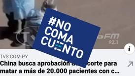 #NoComaCuento: China no busca aprobación para matar a 20.000 pacientes de coronavirus
