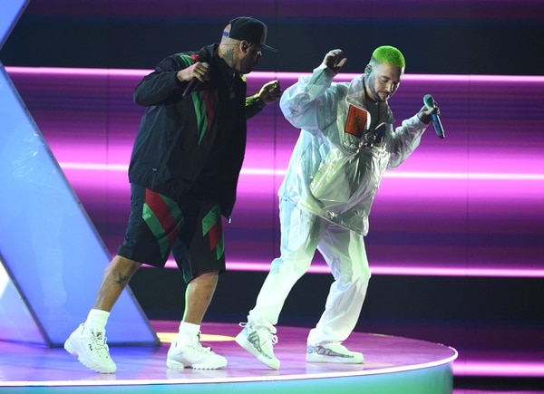 Nicky Jam, left, and J Balvin perform at the Latin Grammy Awards on Thursday, Nov. 15, 2018, at the MGM Grand Garden Arena in Las Vegas. (Photo by Chris Pizzello/Invision/AP)