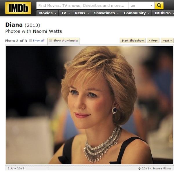 El sitio especializado en cine IMDb muestra imágenes de Naomi Watts como la princesa Diana.
