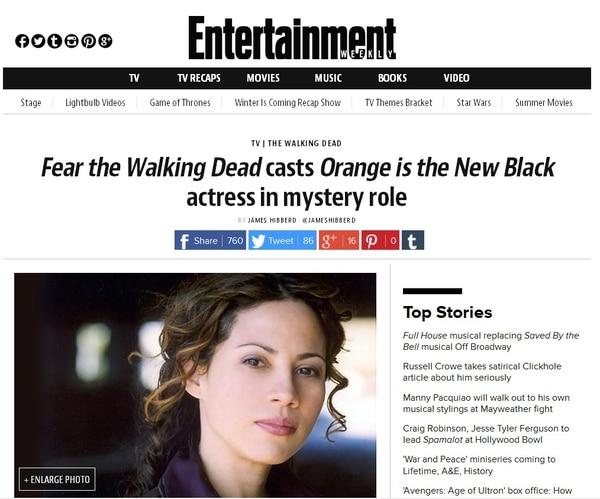 La actriz Elizabeth Rodríguez será del reparto de 'Fear the Walking Dead'.