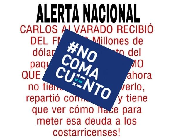 Un falso mensaje en redes sociales afirma que el presidente de la República, Carlos Alvarado, recibió un adelanto de $500 millones del FMI y repartió comisiones con ese dinero.