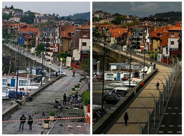 Una coche bomba detonó el 19 de mayo del 2008 en la pequeña ciudad vasca de Gexto. ETA había avisado de la explosión. El ayer y el hoy del mismo lugar.