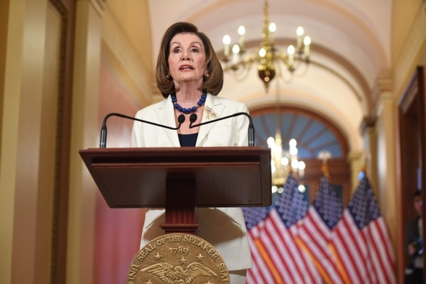TOPSHOT - US Speaker of the House Nancy Pelosi speaks about the impeachment inquiry of US President Donald Trump at the US Capitol in Washington, DC, on December 5, 2019. - Pelosi told congressional leaders to draw up articles of impeachment against Trump, saying his abuse of power for political benefit