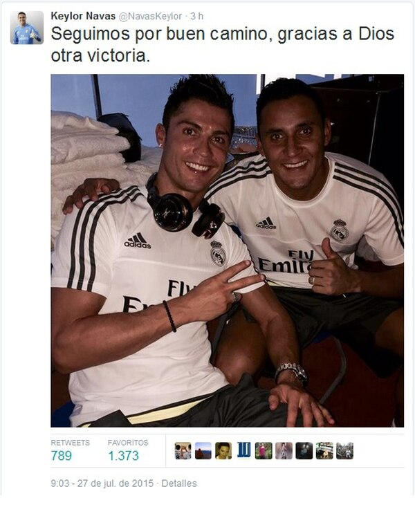 Keylor Navas subió a su cuenta de Twitter una foto junto a Cristiano Ronaldo.