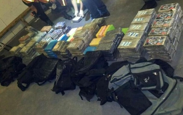 La droga fue hallada tras una llamada anónima a la Policía Judicial de Limón. Estaba en un contenedor en el muelle de Moín. | CORTESÍA PRENSA OIJ