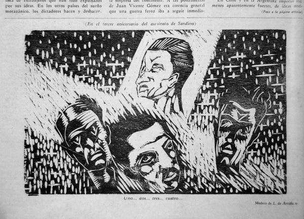 La obra plástica de Araujo se salió de lo convencional, porque se apropió de la pintura, la caricatura y la xilografía, para reflexionar sobre su condición de mujer. En la imagen el grabado Uno... dos... tres... cuatro...