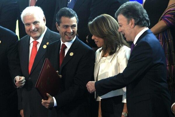 Los presidentes Ricardo Martinelli (Panamá), Enrique Peña Nieto (México) Laura Chinchilla (Costa Rica) y Juan Manuel Santos (Colombia). | EFE