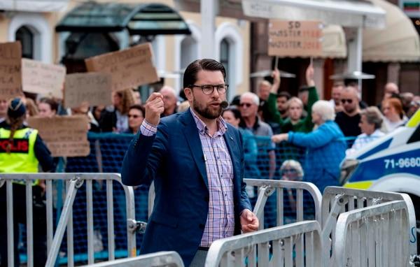 Jimmie Akesson, líder del partido ultraderechista Demócratas de Suecia, pronunció un discurso -el viernes 31 de agosto del 2018- durante un mitin electoral en la ciudad de Landskrona, sur del país.