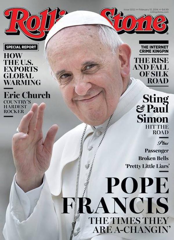 Portada de la edición del 13 de febrero de la revista Rolling Stone con el Papa Francisco.
