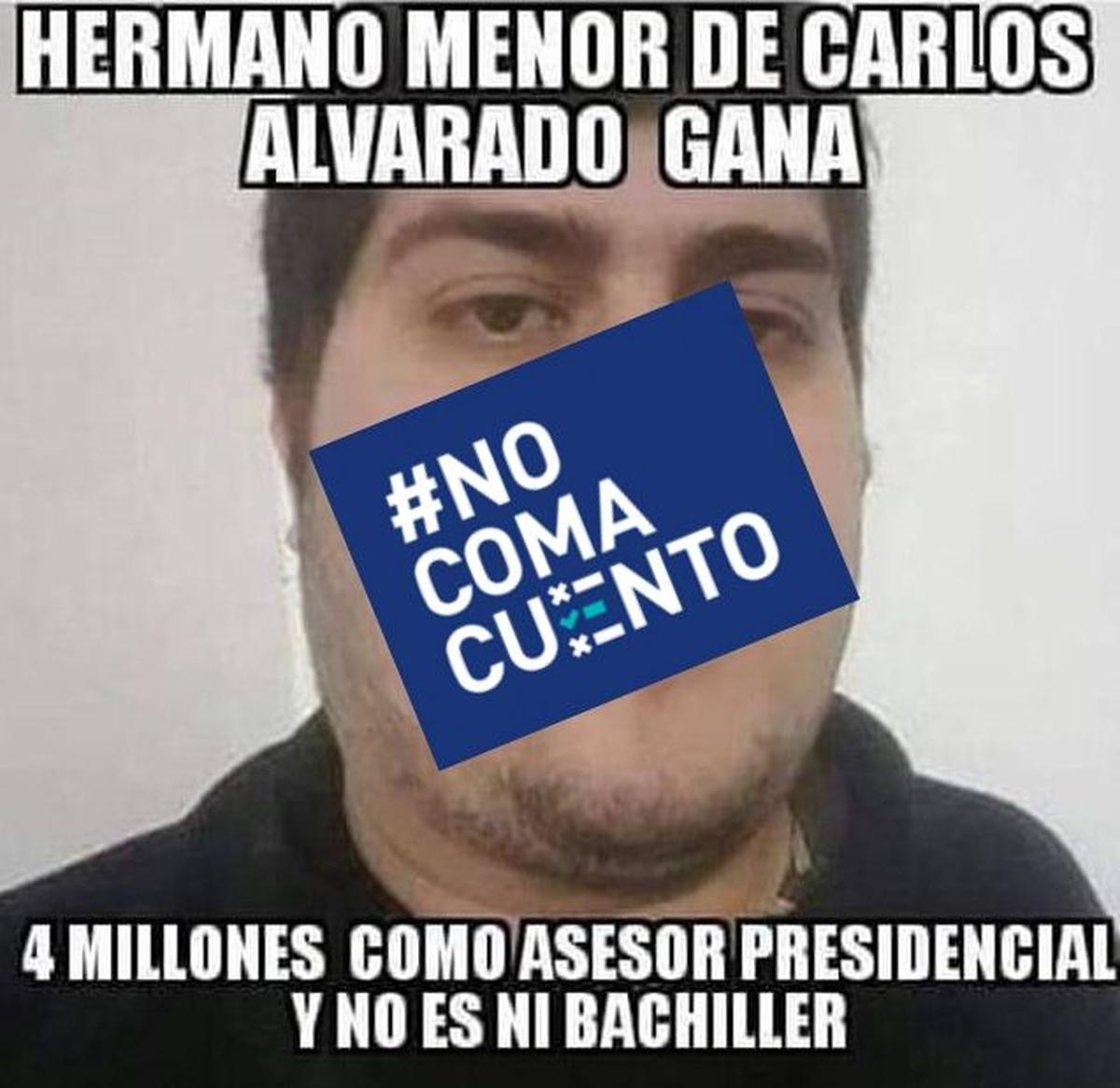 Imagen que se comparte en redes sociales sobre el supuesto hermano de Carlos Alvarado. Foto: Reproducción.