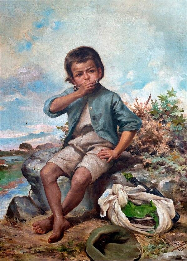 """El óleo sobre lienzo """"Con las glorias se van las memorias"""" (1914), de Tomás Povedano, es uno de los hitos de 'Extrana infancia'. Fotografía: Gabriel González-MAC."""