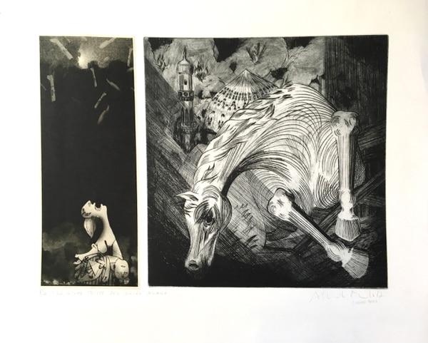 La noche triste del corcel árabe, edición P/A. Grabado en metal del 2003 e impresión 2004 de Alberto Murillo Herrera. Mide 30 x 42,5 cm. Fotografía: Rafael Venegas Arias.