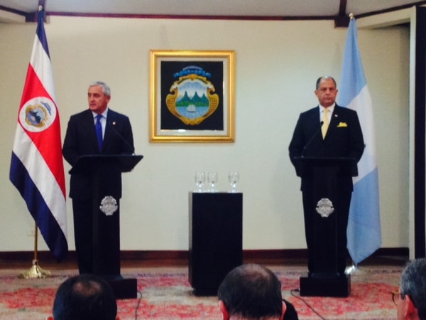 El presidente de Guatemala, Otto Pérez, y el de Costa Rica, Luis Guillermo Solís, anunciaron trabajo conjunto para mejorar el diálogo político bilateral.