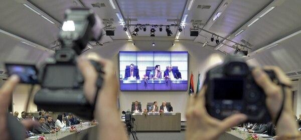 Conferencia de prensa ayer de la OPEP en Viena. | ARCHIVO