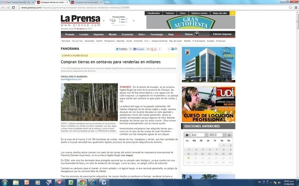 El diario panameño La Prensa dio ayer cuenta de la forma en que se vendieron tierras en una zona indígena y de cómo estas fueron adquiridas por el político costarricense, Antonio Álvarez Desanti. | REPRODUCCIÓN
