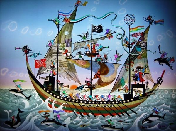 Ilustración de un barco pirata creada por el artista japonés Fujishiro Seiji para un libro infantil.